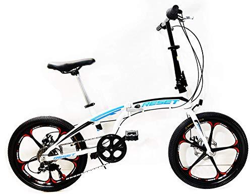 Reset Bicicletta Pieghevole 20' 7V Ruote in Lega Folding RRS Bianco e Azzurro