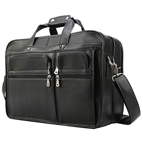 Polare Modern Messenger Bag for Men 17' Laptop Briefcase Full Grain Leather with Premium YKK Zippers