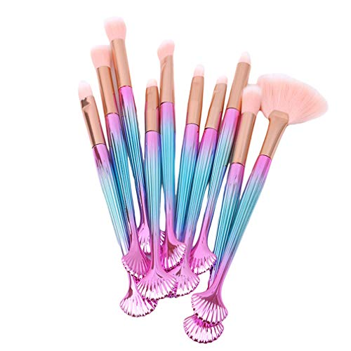Mvude Pinceaux de Maquillage pour Les Yeux Set 10pcs Synthetic Ombre à paupières Blending Concealer Brushes,Poignée Rose Bleu Cheveux Roses