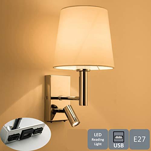 HARPER LIVING 1xE27/ES Luz de lectura LED ajustable para pared, 1 puerto USB y 2 interruptores de encendido/apagado, acabado en cromo pulido, tela blanca (pantalla cilíndrica), metal
