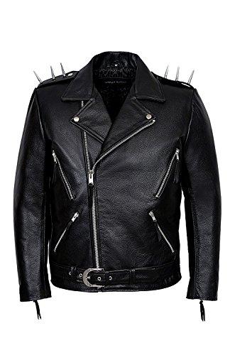 SR Real Leather Negan Chaqueta con Picos de Metal En los Hombros de Cuero Verdadero para Hombre Color Negro Piel de Vacuno Estilo Motero Casual Ideal para La Moda de la Ciudad Super Trendy