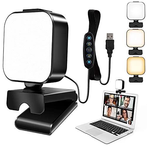 UooEA Luce Videoconferenza, Luce PC Compatta per Webcam per Riunioni Zoom e Streaming di Giochi, 5 modalità di Illuminazione e 6 Luminosità, Facilmente Montata su Monitor di Computer, Laptop