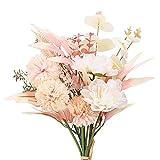 DWANCE Flor de peonía Artificial Ramo de hortensias de Seda de peonía Falsa Flores de crisantemo Artificiales para Jardín Decoración de Banquete de Boda Ramo de Novia Arreglos Florales
