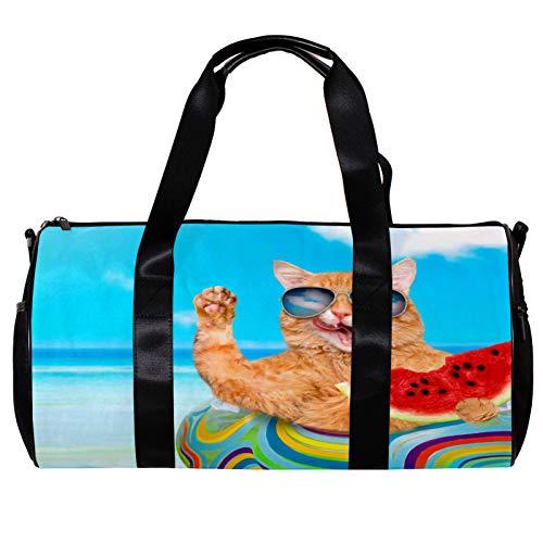 Bolsa de deporte redonda con correa de hombro desmontable para gatos con gafas de sol relajantes en el mar, playa, bolsa de entrenamiento para mujeres y hombres