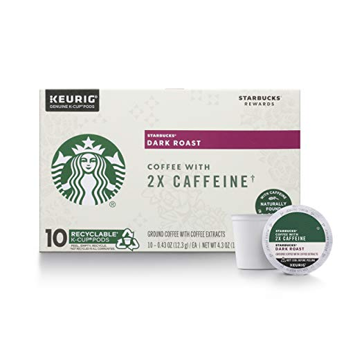Starbucks Dark Roast K-Cup Coffee Pods with 2X Caffeine — for Keurig Brewers, 10 Count (Pack of 6)