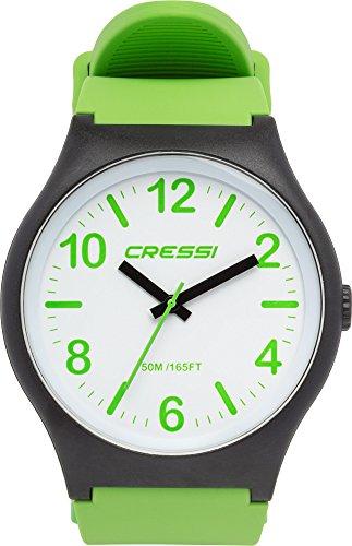 Cressi Watch Echo Reloj Analógico de Cuarzo, Unisex Adulto, Negro/Blanco/Verde, Uni