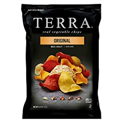 One 6.8 oz. bag of Original Chips with Sea Salt Blend of yuca, sweet potato, parsnip, taro and batata Made with real vegetables Gluten-free, vegan, non-GMO Project verified and Kosher 0mg of cholesterol and 0g of trans fat and no artificial flavors o...