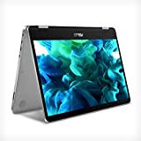 "ASUS VivoBook Flip 14 Thin and Light 2-in-1 Laptop, 14"" HD Touchscreen, Intel Celeron N4020 Processor, 4GB DDR4, 64GB Storage, Windows 10 Home in S Mode, Light Grey, TPM, Fingerprint, J401MA-DB02"