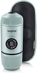 WACACO Nanopresso máquina de café espresso portátil con protectora Nanopresso S-Case adjunto, actualización de la de Minipresso, Cafetera de viaje, Operado manualmente (Nuevos Elementos Azúl ártico)