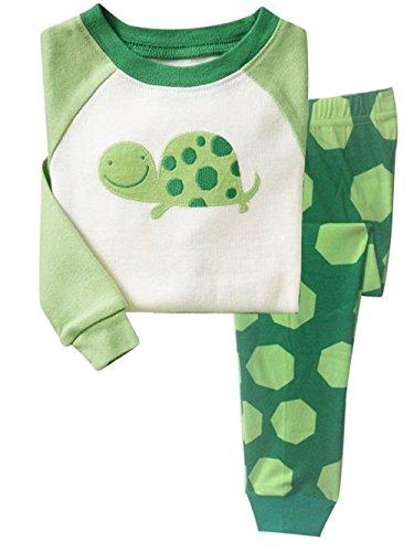Little Hand Jungen Zweiteiliger Schlafanzug Baumwolle Lange Nachtwäsche Tier Schildkröte Kinder Pyjama, Grün, EU 116 (5-6Jahre)=Tag 7T