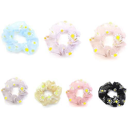 Daisy Hair Scrunchies,Flower Elastic Hair Bands Ponytail Holder Soft Organza Mesh Yarn Korean Hair Ring Ties Ropes Accessories for Women Girls 7Pcs/Set