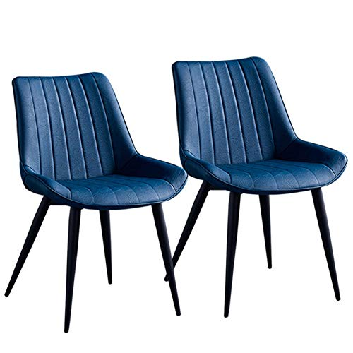 LLLD Pack De 2 Sillas De Comedor Asiento De Cuero Artificial Silla Diseño Silla Tapizada Estructura Metálica con Respaldo Silla De Cocina (Color : Blue)