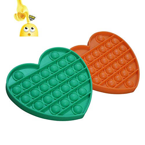 Push Pop Bubble Fidget Sensory Toys, 2pcs Silicone Stress Relief Anxiety Reliever Relax Tool, Fidget Toy for Adults and Kids, Squeeze Extrusion Sensory Playing Board for Autism Special Needs Heart