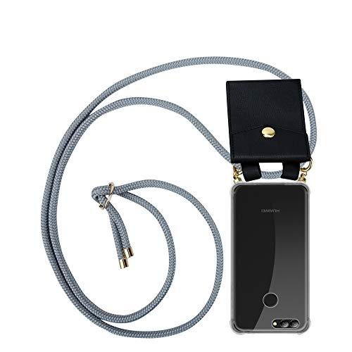 Cadorabo Handy Kette für Huawei NOVA 2 in Silber GRAU - Silikon Necklace Umhänge Hülle mit Gold Ringen, Kordel Band Schnur & abnehmbarem Etui – Schutzhülle