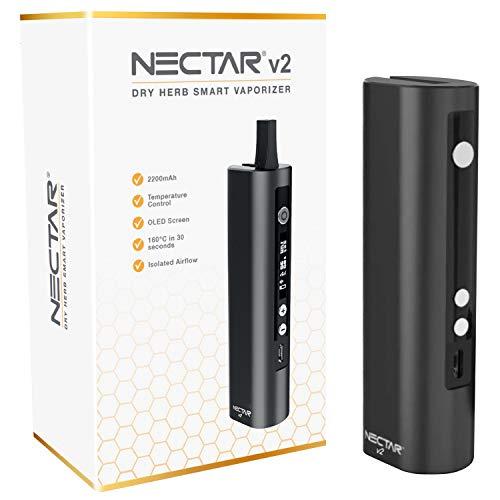 NECTAR Vaporizador Hierba Premium v2 | 2600mAh Batería, Flujo de Aire Aislado, Monitor OLED Control de Temperatura, 100C - 225C - 30s Tiempo de Calentamiento (Negro)