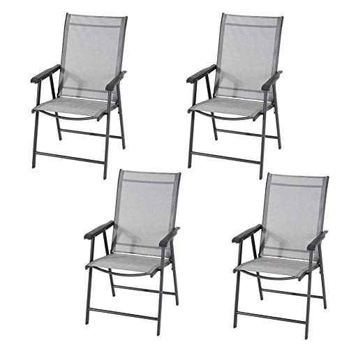 Garden Dining Chair Folding Chairs Set for Patio, Deck, Indoor and Outdoor Chairs 4 PCS, Black, 95 * 59 * 66cm