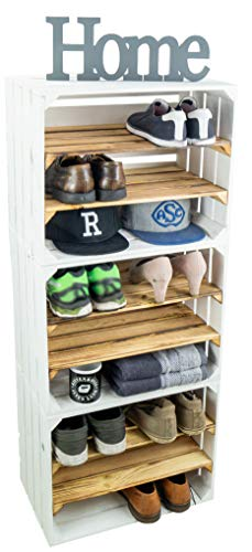 3 x Schuhschrank Schuhregal Weinregal Weinschrank Schuhschrank für 18 Paar Schuhe als Schuhständer Schuhaufbewahrung stabiles Regal in Obstkisten Optik (3er set weiss / geflammte Mittelbretter)
