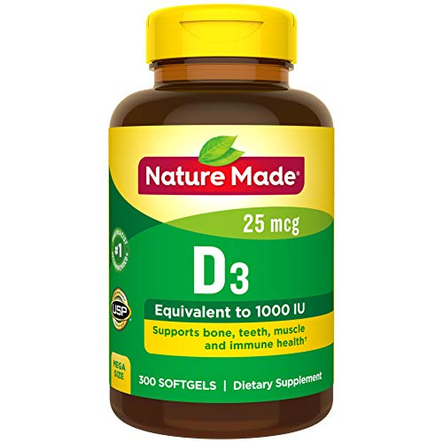 Nature Made Vitamin D3 1000 IU (25 mcg) Softgels, 300 Count for Bone Health† (Packaging May Vary)