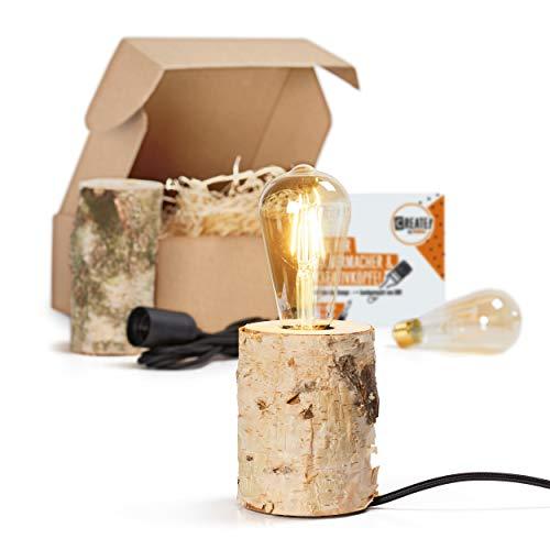 CREATE! by OBI DIY Birkenleuchte | Dekorative Tischlampe aus naturbelassenem Birkenstamm (Holz) zum Selberbauen (HINWEIS: Farbe im Set nicht enthalten)