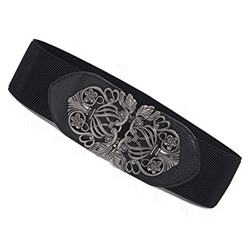 DHDHWL Cinturones para mujer Cinturones elásticos con hebilla de flor hueca de metal, cinturones anchos, cinturón de cintura para boda, cinturón de jeans (longitud del cinturón: 70, color: negro)