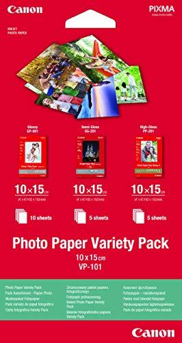 Canon Fotopapier VP-101 Musterpaket Postkarte 10 x 15 cm und DIN A4 , 20 Blatt, für Tintenstrahldrucker