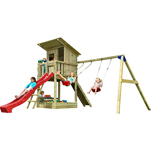 Blue Rabbit 2.0 Spielturm BEACH HUT mit Rutsche 2,90 m + Kletterrampe + Doppelschaukel Kletterturm Holzturm Kiefer MASSIVHOLZ imprägniert (Rot)