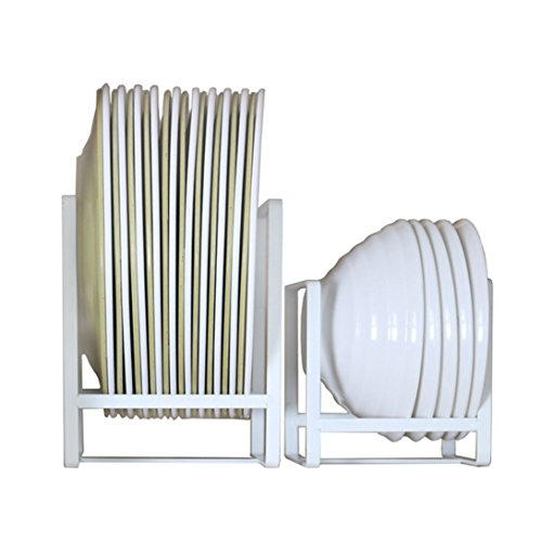Plate Holders Organizer Upright Metal Dish Storage Dying Rack for Kitchen Counter Cabinet Cupboard Camper - White
