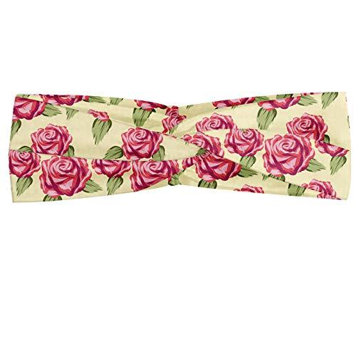 ABAKUHAUS Rose Halstuch Bandana Kopftuch, Romantische Komposition von Pflanzen Muster Blumen, Elastisch und Angenehme alltags accessories, Creme Pistazie