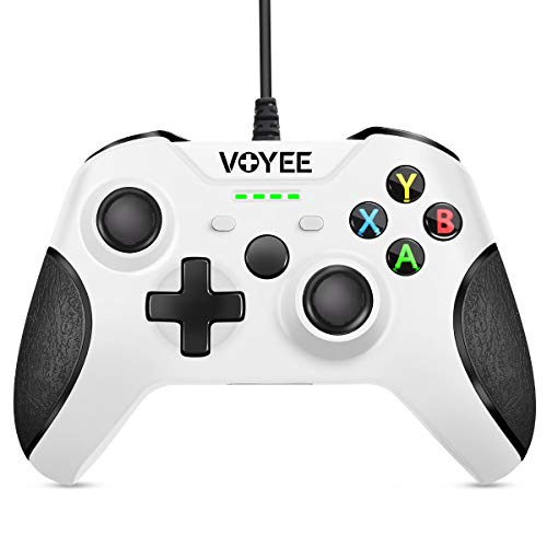 VOYEE Enhanced Wired Controllers Compatible with Xbox One Controller with 3.5MM Stereo Headset Jack, Upgraded Gamepad Compatible with Microsoft Xbox One X S Elite Console - White