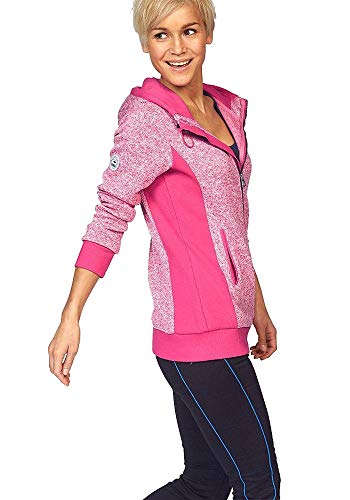 KangaROOS Damen Strickfleece Jacke Strick Fleecejacke Fleece Jacke (pink meliert, 32/34 (XS))