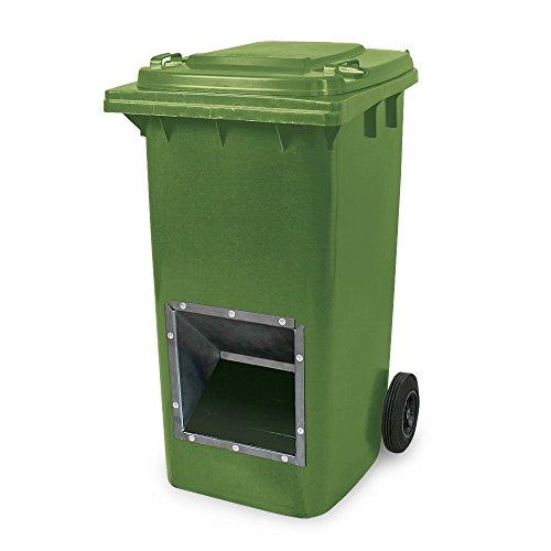 Mobiler Streugutbehälter, Streusalzbehälter 240 Liter, mit Entnahmeöffnung, auch für Streusplit, grün