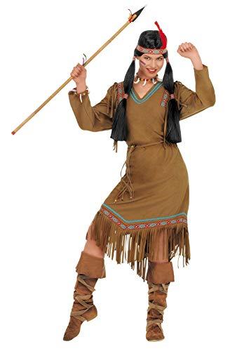 shoperama Cheyenne - Disfraz de india para mujer, vestido con flecos, cinturón y pluma, talla M