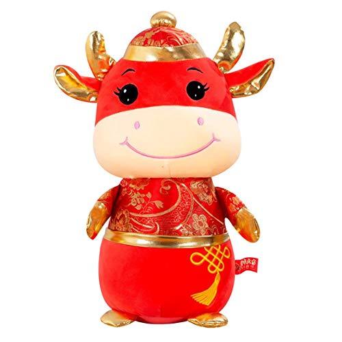 Qinlee El Ao Del Buey Mascota De Peluche Con Disfraz De Tang Mueca De Ternera, Se Vende 1 Pieza, El Color Se Muestra En La Imagen, El Tamao Es De 25 Cm, El Material Es De Felpa