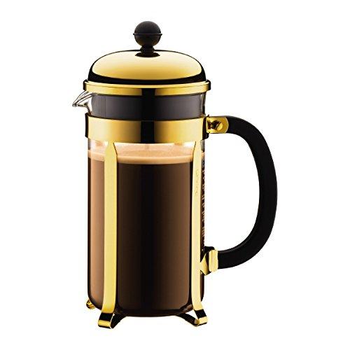 Bodum Chambord Kaffeebereiter 8 Tassen mit Metallrahmen, Edelstahl, Gold, 24 x 50 x 27.2 cm