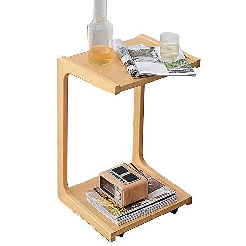 Hemmöbler, soffbord i massivt trä Bärbar kontorsdator för bärbar dator med hjul C-form Soffbord Sovrumssängbord, 39x35x63CM (Färg: A)
