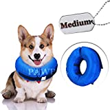 Recovery Waterproof Collar Pillow for Dogs and Cats Comfy Cone Soft Inflatable Donut Collar (Medium - Inflatable Collar)