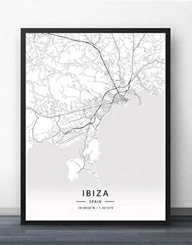 QYQMYK Leinwand Bilder,Spanien Ibiza Stadt Karte Wand Bilder Poster Schwarz Weiß Drucke Kunstgemälde Rechteck Pop Wandmalereien Kunstwerk Für Zimmer Leben Wohnkultur, 60X80Cm/23.62X31.49 In