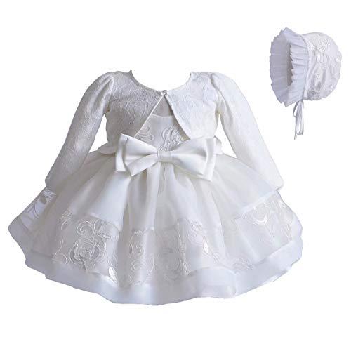 Baby Girl 3 Pezzi Set Abito da Battesimo Pizzo Bianco Abito a Trapezio Tulle Ricamo + Cardigan Maniche Lunghe + Piccolo Set di Abiti da Battesimo Bonnet
