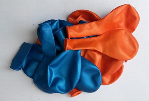 Sachsen Versand 50 orange-blau metallic- Luft-Ballons glänzend-metall-Feier-Deco-Geburtstag-Fete-Helium-geeignet EU Ware