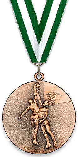 Medalla de Metal Personalizable - Baloncesto Masculino - Color Bronce - 6,4cm - Cinta Incluida - Colores de Cinta - Verde-Blanco-Verde