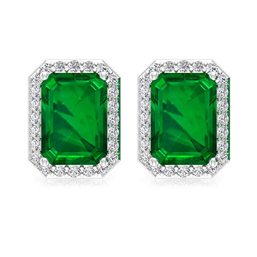 Pendientes de esmeralda de 2 ct, con forma de octágono, con piedra natal, certificado IGI, con diamantes, boda, boda, HI-SI, con declaración de diamantes, tornillo hacia atrás