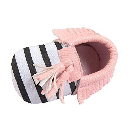 Alwayswin Baby Mädchen Jungen Fransen Babyschuhe Weichen Boden rutschfeste Kleinkindschuhe Weichen Boden Streifen Babyschuhe Mode Slip-On First Walkers Kid Schuhe Bequem Schuhe
