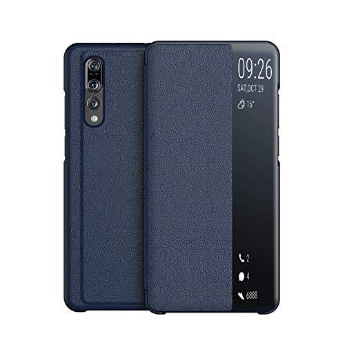 KANSI Cover compatibile con Huawei P20 Pro, Flip Pelle Smart View Custodia + Vetro Temperato - Marino
