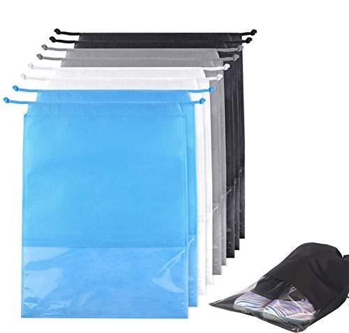 8 bolsas para zapatos de viaje o deporte, con ventana transparente y cordón, bolsa de almacenamiento para hombre y mujer, impermeable, resistente al polvo, ideal para viajes o almacenamiento en casa