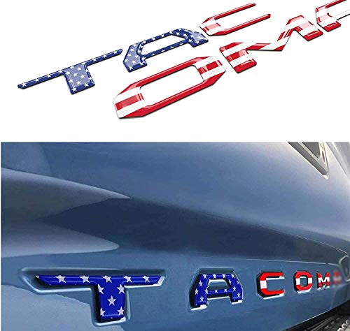 GLAAPER 3D Raised Tailgate Insert Letters Rear Emblems, Plastic Inserts with Adhesive Backing Replacement for 2016 2017 2018 2019 2020 2021 TACOM (American Flag)