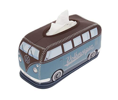 BRISA VW Collection - Volkswagen T1 Bulli Bus Retro/Vintage Neopren Kosmetik-Tuch-Spender, Taschentuch-Spender-Box, Tissue-Box (Petrol/Braun)