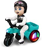 khodiyar creation Spot Stunt 360 Rotating Tricycle Toy for Kids, Bump & Go Motorcycle with Flashing...