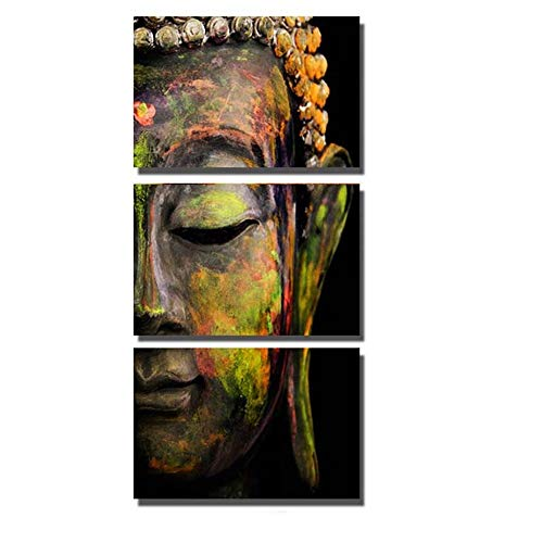SXRE Wall Art Painting Canvas Pictures Print Modern Buddha Head Portrait Portrait Painting Printed On Canvas Religion Wall Art Canvas Painting Home Decoration Wall Murals Ready to Hang 3pcs