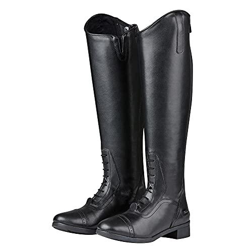 Saxon - Botas de equitación de caña Alta Modelo Syntovia para Mujer (38 EU/Regular/Regular) (Negro)