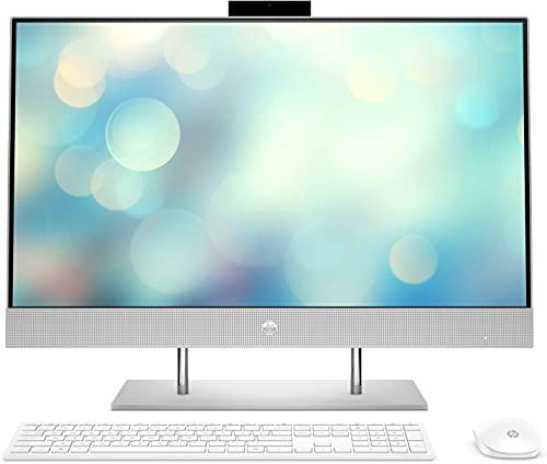 "HP All-in-One 27-dp0079ns - Computer da tavolo da 27"" FHD, Intel Pentium Gold G6400T, 8 GB DDR4-SDRAM, 512 GB SSD, FreeDOS, colore: argento naturale, tastiera QWERTY spagnola e mouse"
